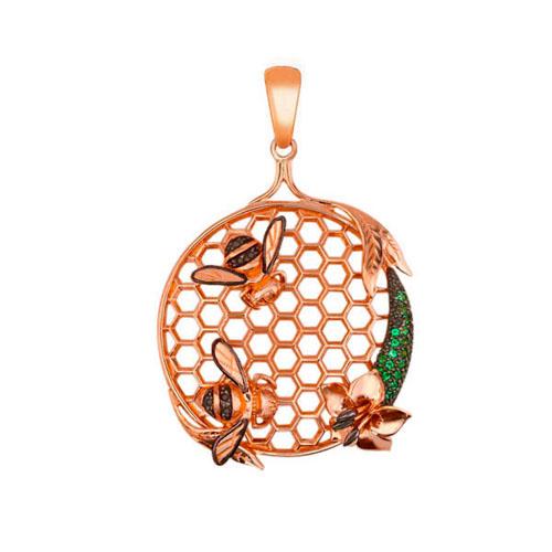 Золотой кулон Пара пчел с сотами и цветочком в красном и черном цвете с зелеными и черными фанитами VLT--Т3416-2