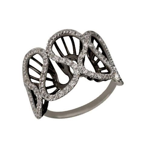 Золотое кольцо Боттичелли в комбинированном цвете с фианитами VLT--ТТ1069