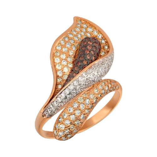 Золотое кольцо Камелия в красном и белом цвете с коньячными и белыми фианитами VLT--ТТ1021-2