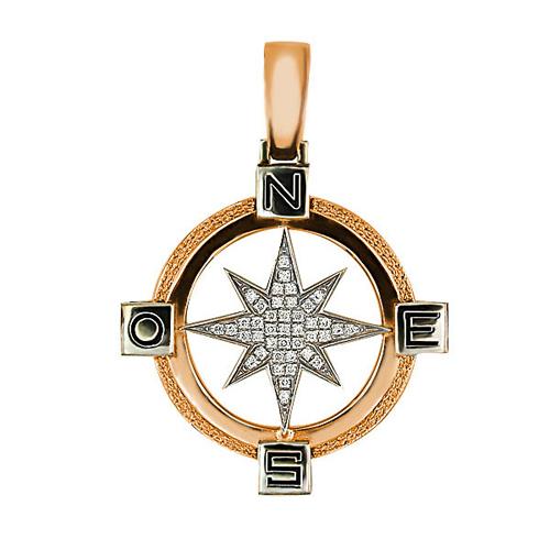 Золотая подвеска Путеводная Звезда в красном и белом цвете с кристаллами циркония VLT--Т3313-2
