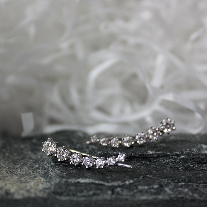 Серебряные серьги-каффы Пелагея с цирконием 000064040