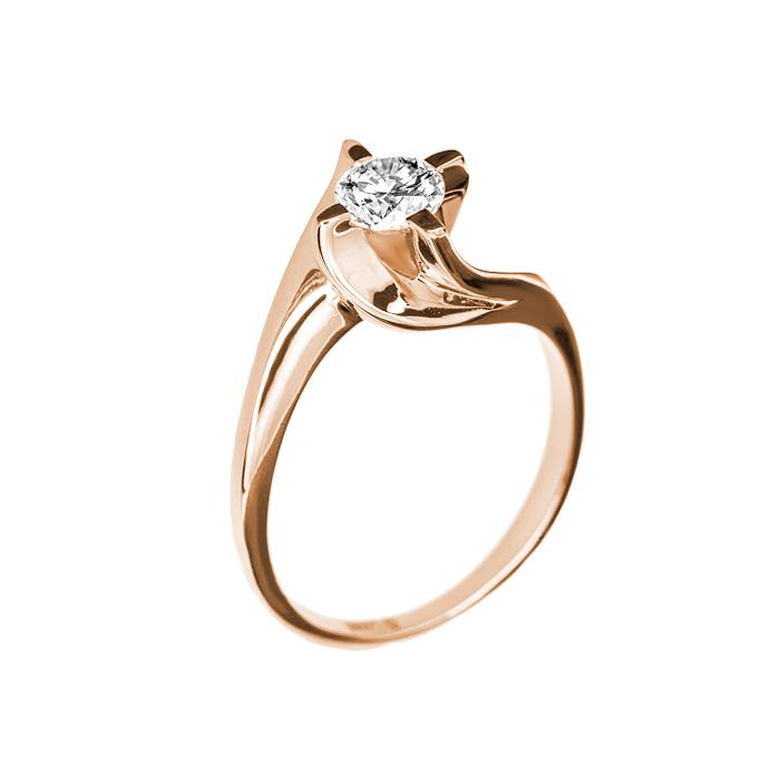 Кольцо в красном золоте Грета с бриллиантом 000079298