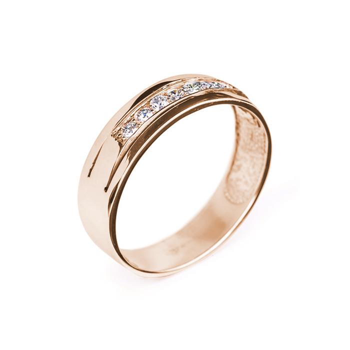 Обручальное кольцо в красном золоте Преданность с бриллиантами 000079265