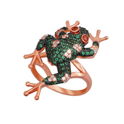 Золотое кольцо Лягушка в красном цвете с фианитами микс VLT--ТТ1054-2