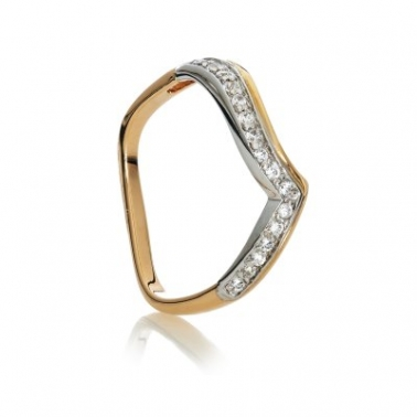 Золотое кольцо с цирконием Тандем 000030627