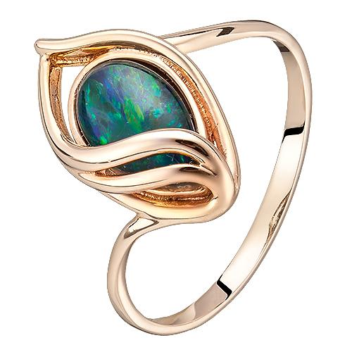 Золотое кольцо Всевидящее око с опалом (триплетом) 000044262