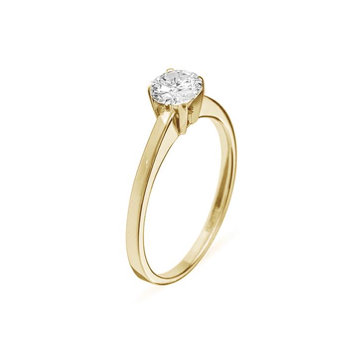 Кольцо в желтом золоте Ирида с бриллиантом 000079260