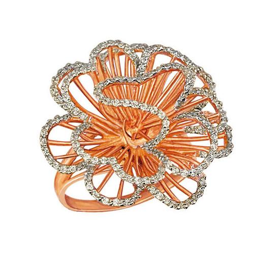 Золотое кольцо Нежный цветок в красном и белом цвете с фианитами VLT--ТТ1042-2