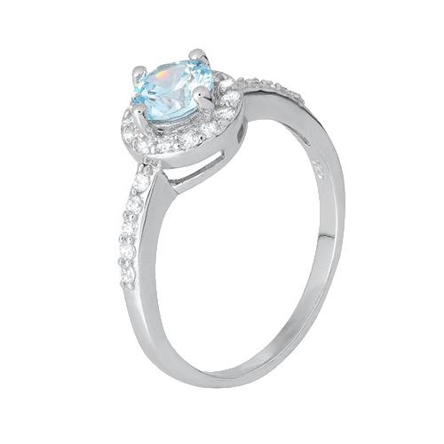 Серебряное кольцо Ривьера с голубым и белым цирконием 000028373
