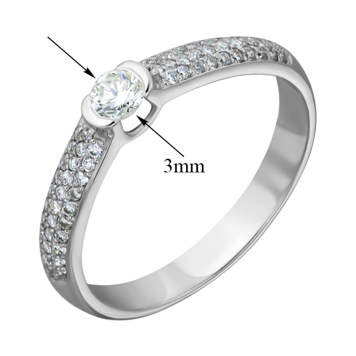 Кольцо из белого золота Снежная королева с бриллиантами EDM--КД7498/1
