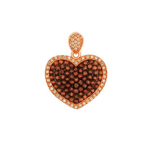 Золотой кулон Сердце Амура в красном и черном цвете с коньячными и белыми фианитами VLT--Т3359-2