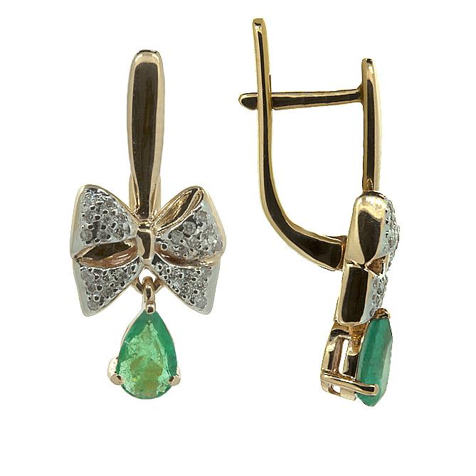 Золотые серьги с бриллиантами и изумрудами Грета ZMX--EDE-5555_K