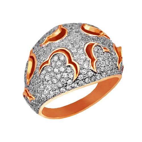 Золотое кольцо Ампир в комбинированном цвете с фианитами VLT--ТТ1022-2
