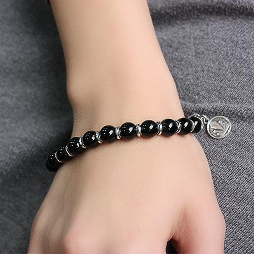 Серебряный браслет с ониксом New Look 04083