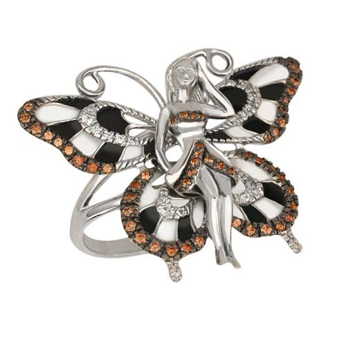Золотое кольцо Психея в комбинированном цвете с эмалью и фианитами VLT--ТТ1045