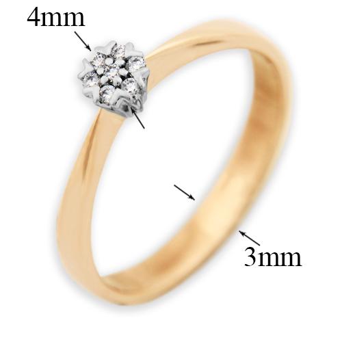 Золотое помолвочное кольцо Афродита в комбинированном цвете с бриллиантами VLA--15590