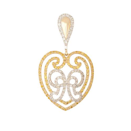Золотой кулон Сердце с бантом в желтом и белом цвете с фианитами VLT--ТТТ3475