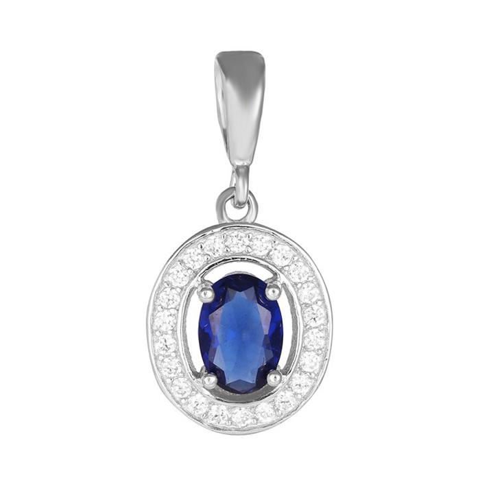 Серебряный подвес Маргарет с синим и белыми фианитами 000028849