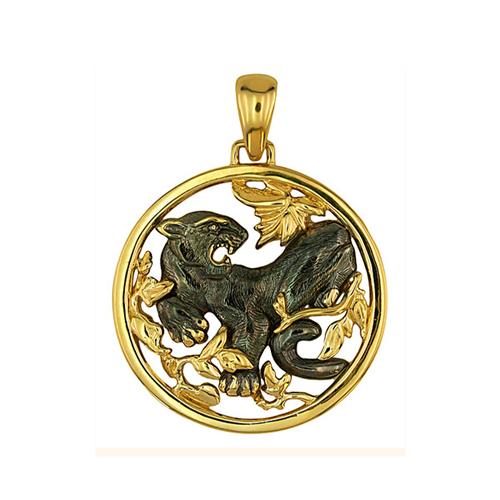 Золотой кулон Дикая пантера в желтом и черном цвете VLT--А313-1