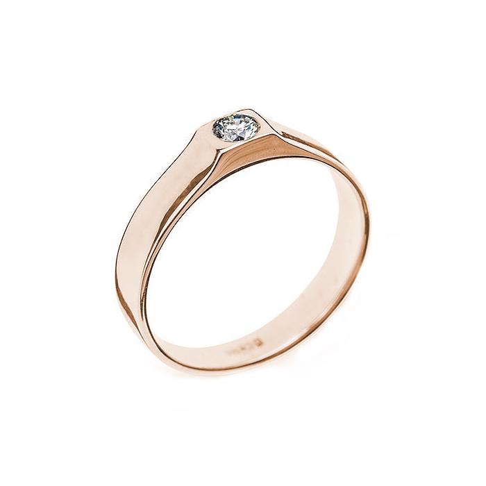 Кольцо в красном золоте Кали с бриллиантом 000079315
