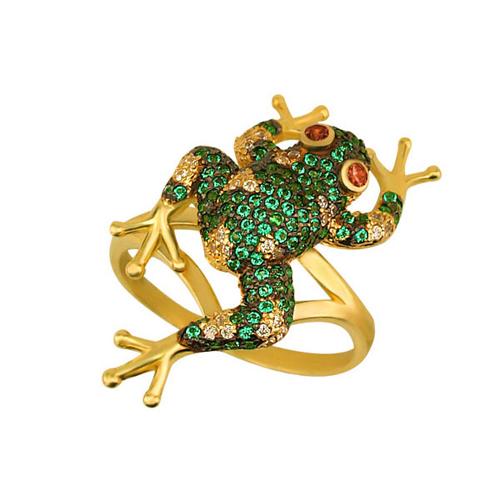 Золотое кольцо Лягушка в желтом цвете с фианитами микс VLT--ТТ1054-1