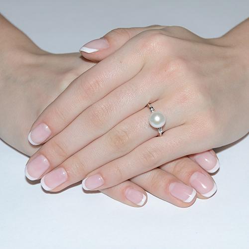 Золотое кольцо с жемчугом и фианитами Лилит 000008469 SG--11326401