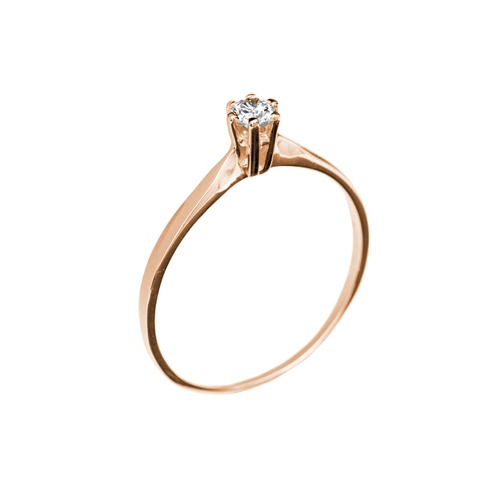 Кольцо в красном золоте Ирена с бриллиантом 000079294