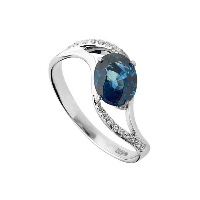 Кольцо из белого золота с сапфиром и бриллиантами Кристиана 000030350