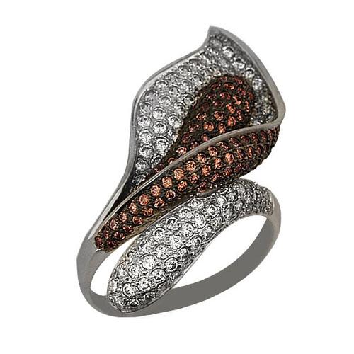 Золотое кольцо Камелия в белом и черном цвете с коньячными и белыми фианитами VLT--ТТ1021