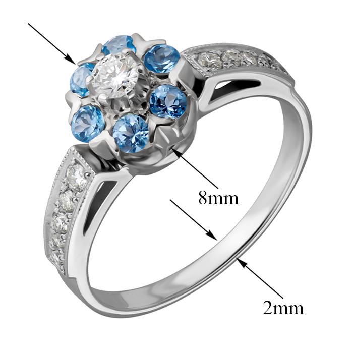 Кольцо из белого золота Джозефа с голубыми топазами и бриллиантами EDM--КД7432/1ТОПАЗ