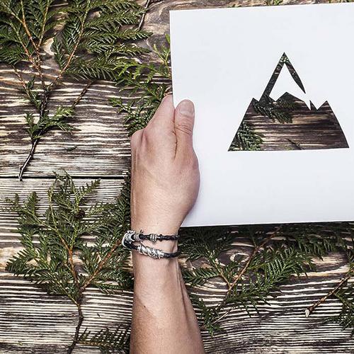 Кожаный браслет со словом Dream из серебра азбукой Морзе 000050032