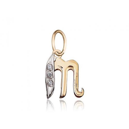 Золотой кулон Буква Т с фианитами EDM--П045Т