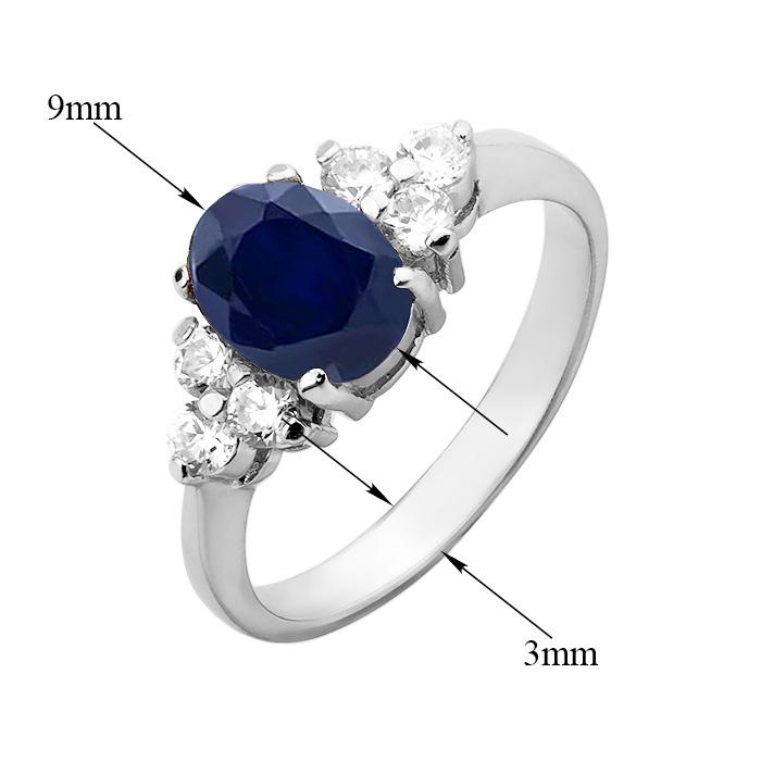 Серебряное кольцо Шарлотта с сапфиром и фианитами 000032405