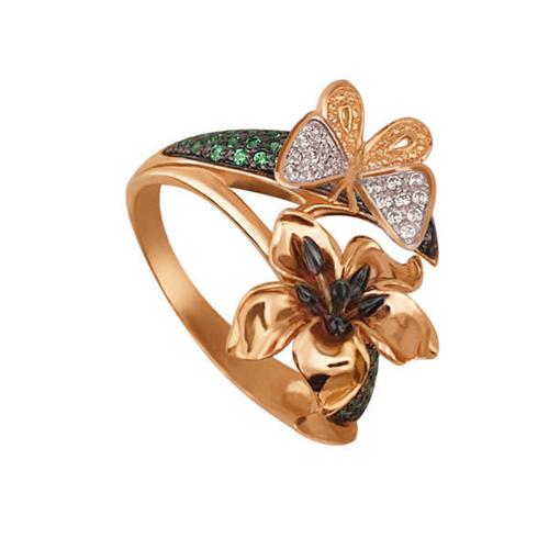 Золотое кольцо из красного и белого золота Тропиканка с цирконием VLT--ТТ1102-2