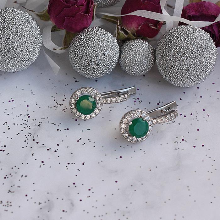 Серебряные серьги Янина с зеленым агатом и фианитами 000066591