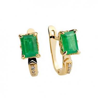 Золотые серьги с изумрудами и бриллиантами Талия 000030409