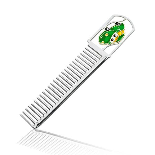 Серебряная расческа с зеленой эмалью 000003910 2.13.0121/зел