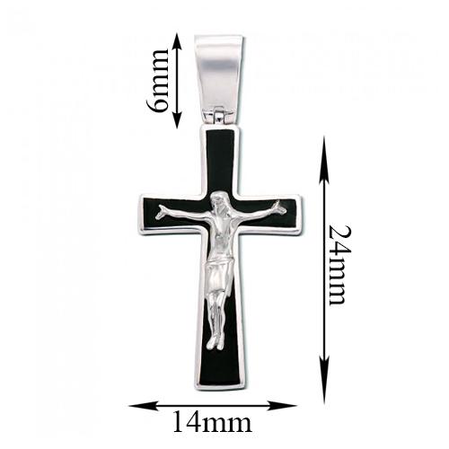 Православный крестик из белого золота с черной эмалью и родированием 000123464 000123464