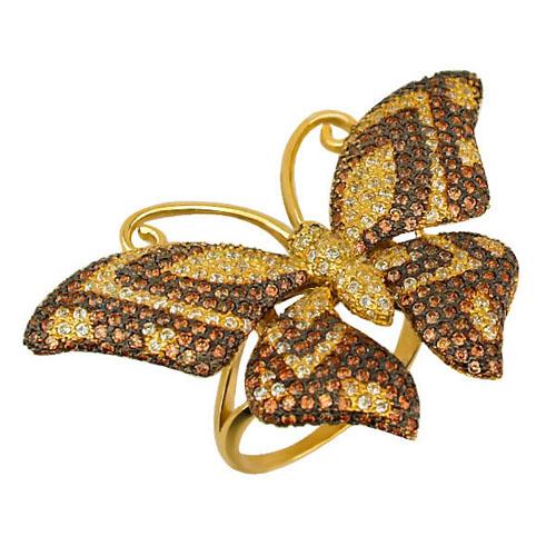 Золотое кольцо Бабочка в желтом и черном цвете с фианитами микс VLT--ТТ1026-1
