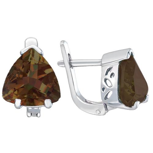 Серебряные серьги Верди с коньячным раухтопазом 000101439