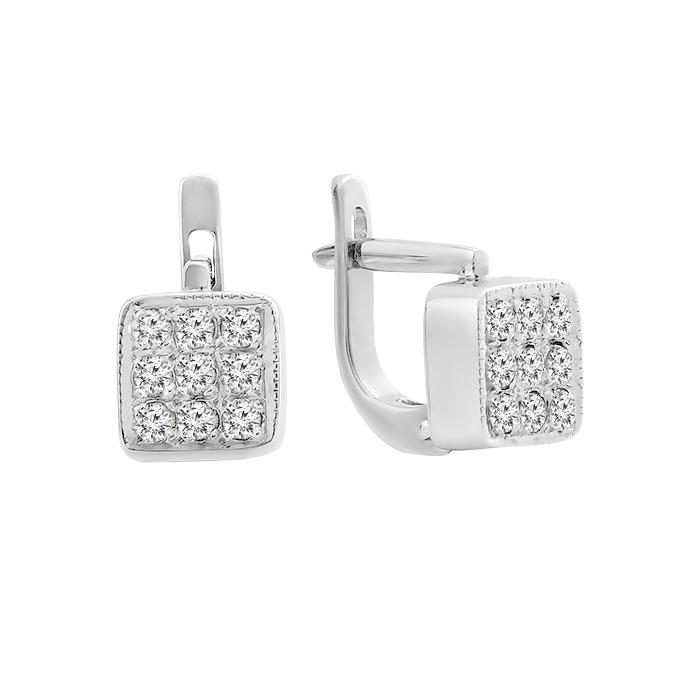 Серьги в белом золоте Джустина с бриллиантами 000079182