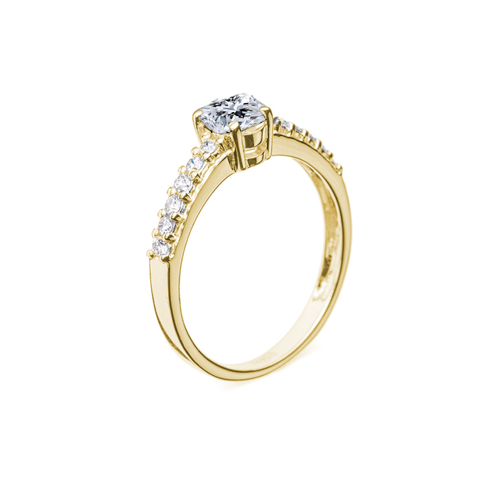 Кольцо в желтом золоте Исабель с бриллиантами 000079239