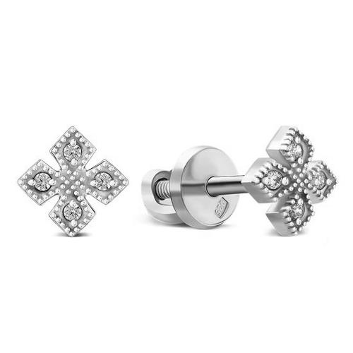Серебряные родированные пуссеты Мирра с фианитами 000055299