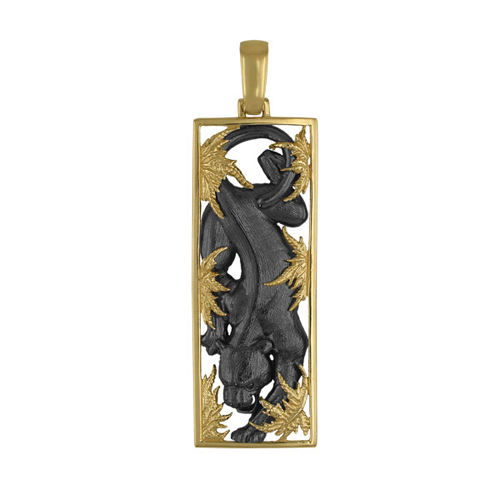 Золотая подвеска Пантера в желтом и черном цвете VLT--А304-1