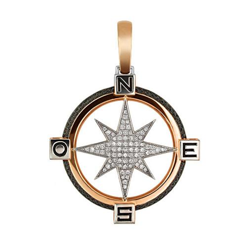 Золотая подвеска Путеводная Звезда в красном и белом цвете с белыми и черными фианитами VLT--Т3312-2