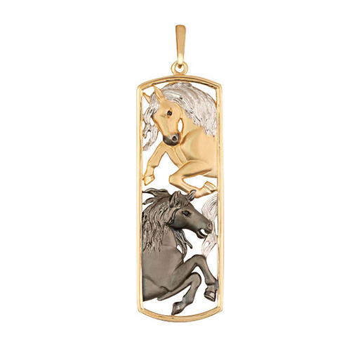 Золотой кулон Лошади в комбинированном цвете с черными фианитами VLT--Т3539