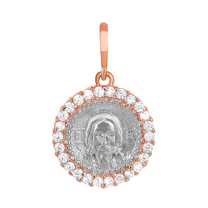 Серебряный подвес-ладанка с фианитами Иисус Христос 000034050 000034050