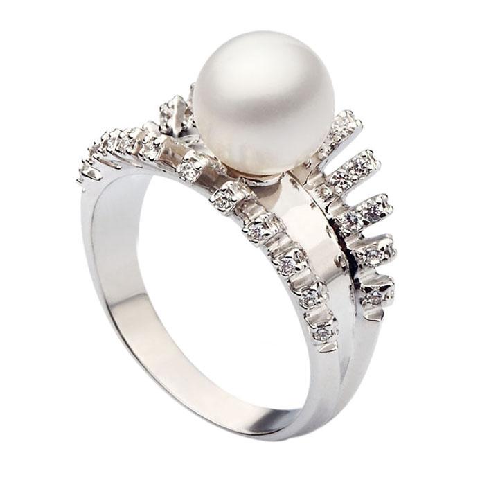 Кольцо из белого золота с жемчугом Морис 000029903
