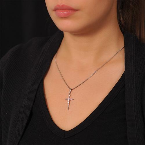 Крест из белого золота Мечта с бриллиантом EDM--КР7153/1