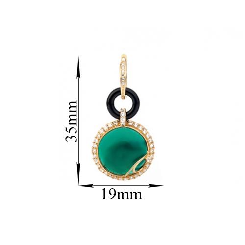 Золотые серьги-трансформеры Антьера с зелеными и черными агатами и фианитами 000030580